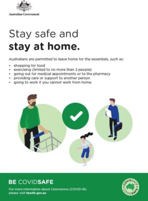 CovidSafe Stay Safe And Stay At Home Sign