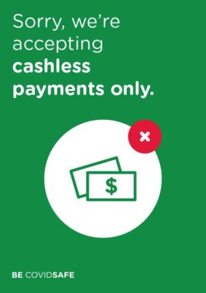 CovidSafe Cashless Payments Only Sign