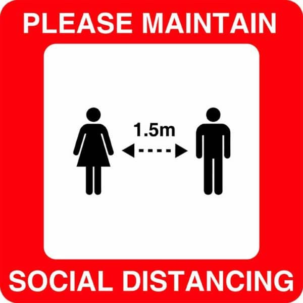 Please Maintain Social Distancing V3 Sign