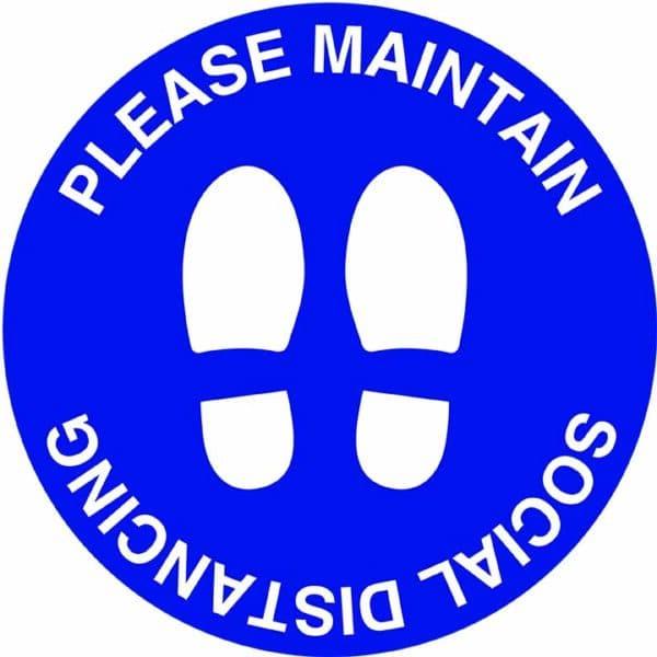 Dark blue feet - Please maintain social distancing floor marker