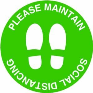 Green floor marker - Please maintain social distancing feet