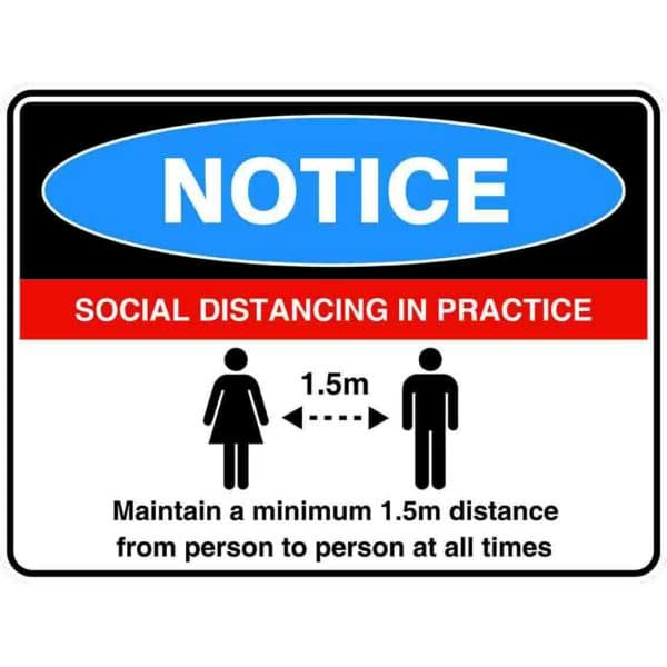 Please Maintain Social Distancing V2 Sign