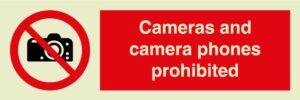 Cameras and camara phones prohibited sign