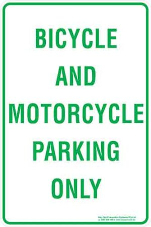 Carpark Bicycle And Motorcycle Parking Only