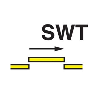 B class self closing semi-watertight sliding fire door sign