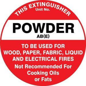 Fire Extinguisher Id Marker Powder Abe