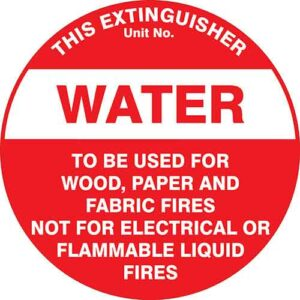 Fire Extinguisher Id Marker Water