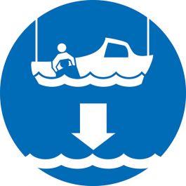 Lower rescue boatIMO Sign