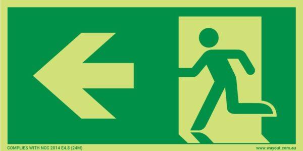 Running Man Exit LEFT 24M Luminous Sign