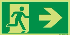 Running Man Exit RIGHT 24M Luminous Sign