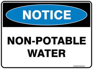 Notice Non Potable Water