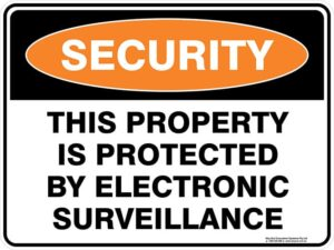 Security This Property Is Protected By Electronic Surveillance Sign