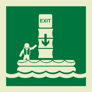 Vertical evacuation chute sign