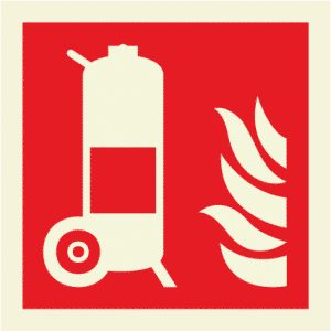 Wheeled fire extinguisher (Glow in the dark) IMO Sign